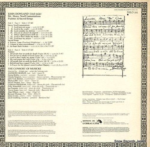 CONSORT OF MUSICKE, THE dowland; mr. henry noell lamentations 1597 DSLO551 - back cover