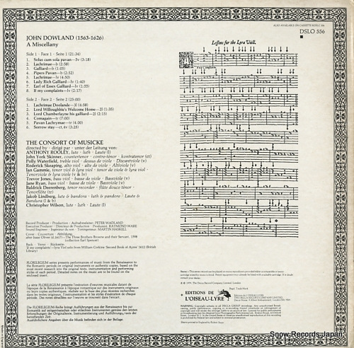 CONSORT OF MUSICKE, THE dowland; a miscellany DSLO556 - back cover