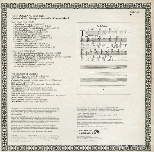 CONSORT OF MUSICKE, THE dowland; consort music DSLO533 - back cover