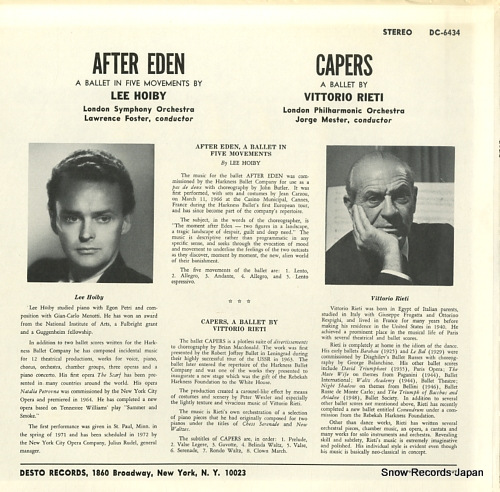 FOSTER, LAWRENCE / JORGE MESTER hoiby; after eden / rieti; capers DC-6434 - back cover