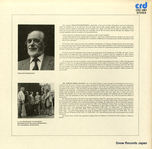 ALBERNI STRING QUARTET, THE wordsworth; string quartets nos.5 & 6 CRD1097 - back cover