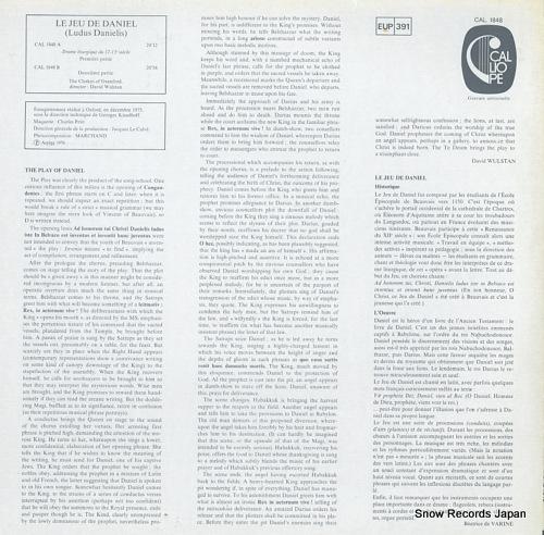 WULSTAN, DAVID le jeu de daniel(xiie) CAL.1848 - back cover