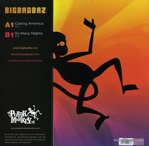 BIG BAD BAZ calling america PRM007 - back cover