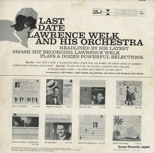 WELK, LAWRENCE, AND HIS ORCHESTRA last date DLP25350 - back cover