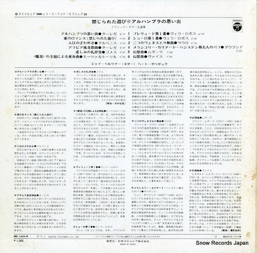 BERLINER, JAY / BETHO DAVEZAC guitar music favorites MS-1220-N - back cover