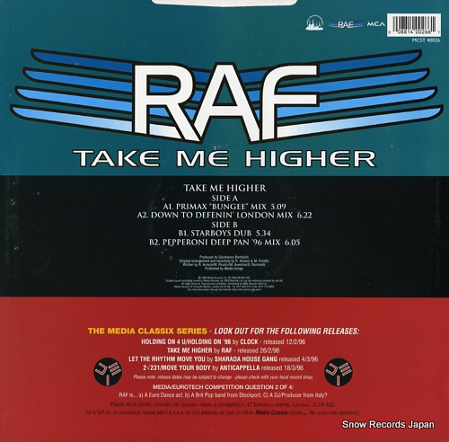 R.A.F. take me higher MCST40026 - back cover