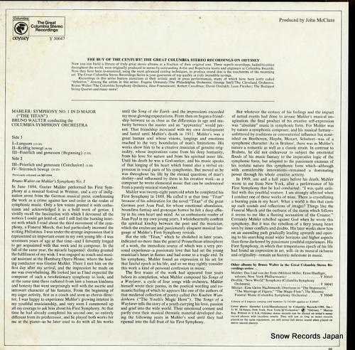 WALTER, BRUNO mahler; symphony no.1 in d major