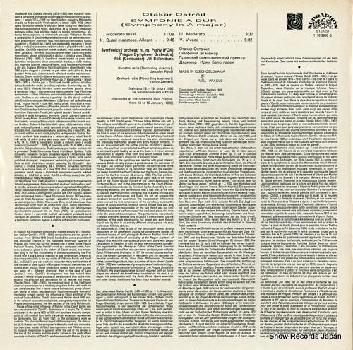BELOHLAVEK, JIRI otakar ostrcil; symphony in a major 11102960 - back cover