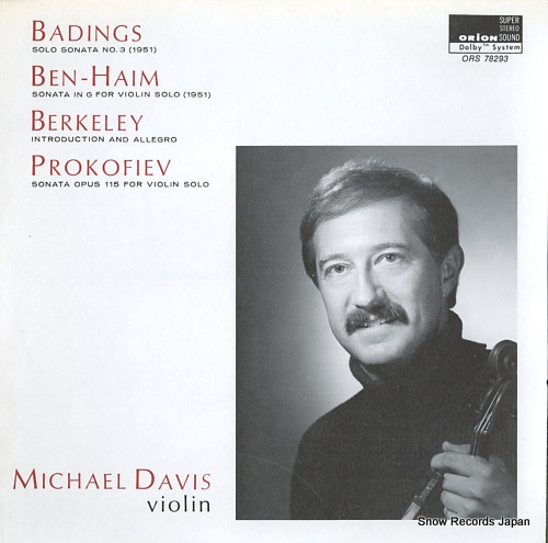 DAVIS, MICHAEL badings; solo sonata no.3(1951) ORS78293 - front cover