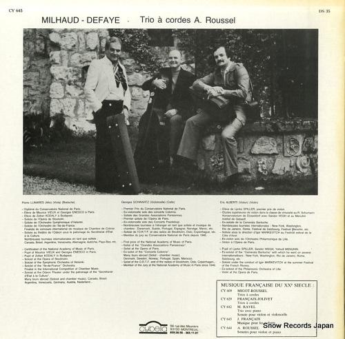 TRIO A CORDES A.ROUSSEL milhaud-defaye CY645 - back cover