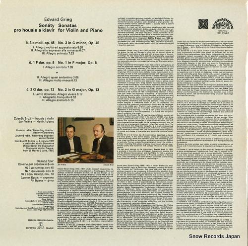 BROZ, ZDENEK, AND JAN VRANA grieg; sonatas for violin and piano 11113164 - back cover