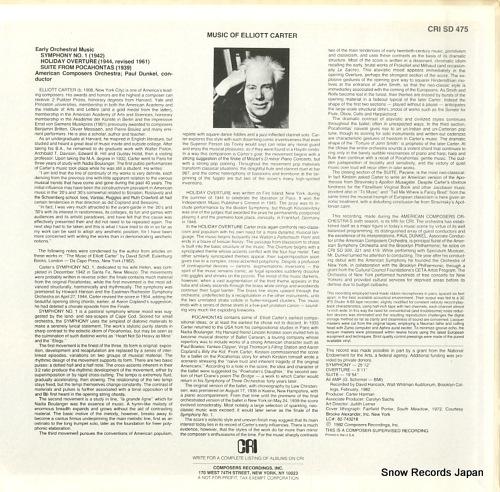 DUNKEL, PAUL elliott carter; the early music CRISD475 - back cover