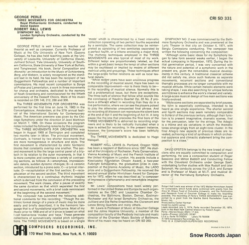 HALL LEWIS, ROBERT / DAVID EPSTEIN lewis; symphony no.2 / perle; 3 movements for orchestra CRISD331 - back cover