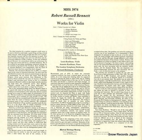 HERRMANN, BERNARD robert russell bennett; works for violin MHS3974 - back cover
