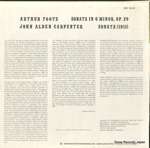 GRATOVICH, EUGENE, AND, REGIS BENOIT arthur foote; sonata in g minor ORS76243 - back cover