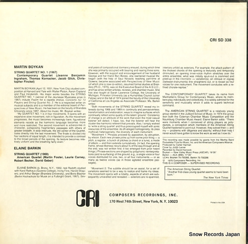 CONTEMPORARY QUARTET / AMERICAN QUARTET martin boykan; quartet no.1 CRISD338 - back cover
