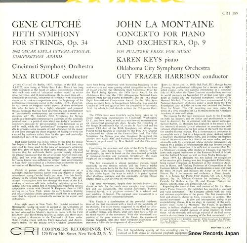 RUDOLF, MAX / GUY FRASER HARRISON gene gutche; fifth symphony for strings op.34 CRI189 - back cover
