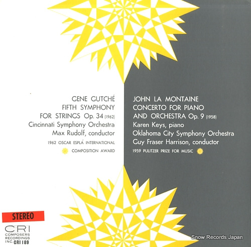 RUDOLF, MAX / GUY FRASER HARRISON gene gutche; fifth symphony for strings op.34 CRI189 - front cover
