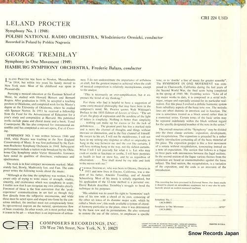 ORMICKI, WLODZIMIERTZ / FREDERIC BALAZS leland procter; symphony no.1 CRI224USD - back cover