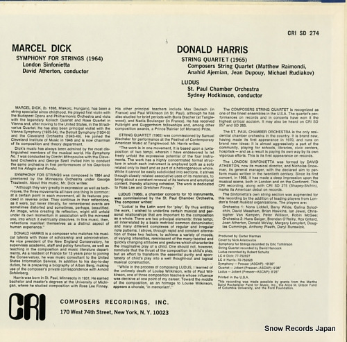 ATHERTON, DAVID dick; symphony for strings CRISD274 - back cover