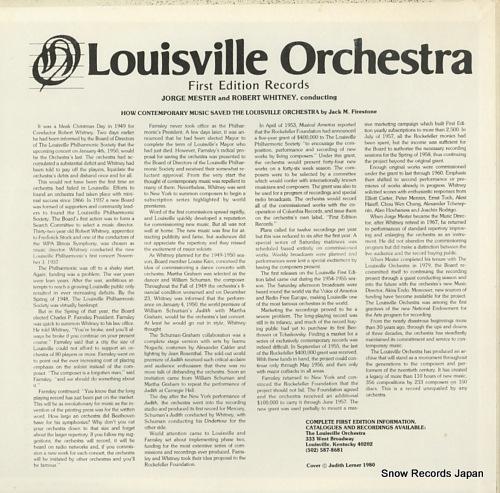 LOUISVILLE ORCHESTRA milhaud; quatre chansons de ronsard LS-744 - back cover