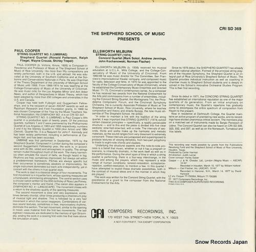 SHEPHERD QUARTET cooper; string quartet no.5(umbrae) CRISD369 - back cover