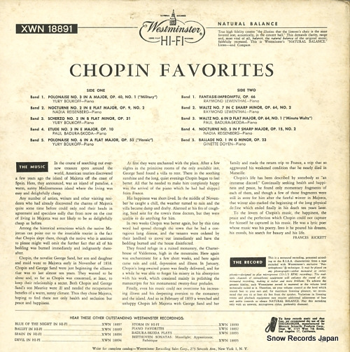 V/A chopin; favorites XWN18891 - back cover