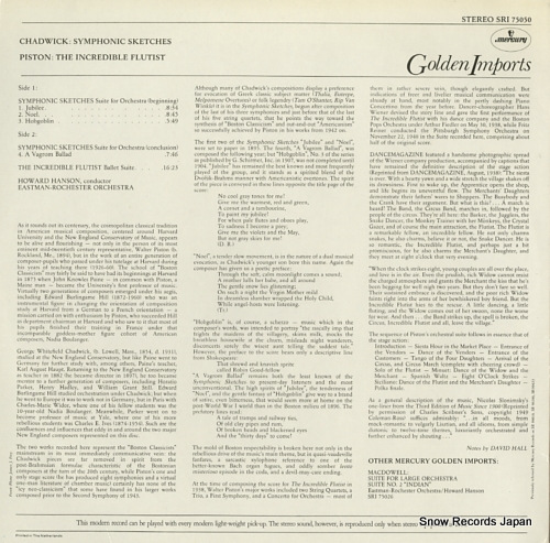 HANSON, HOWARD chadwick; symphonic sketches suite for orchestra(beginning) SRI75050 - back cover
