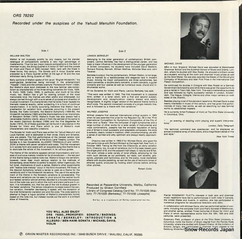 DAVIS, MICHAEL walton; sonata for violin and piano ORS78292 - back cover