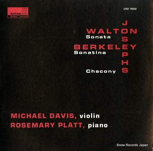 DAVIS, MICHAEL walton; sonata for violin and piano ORS78292 - front cover