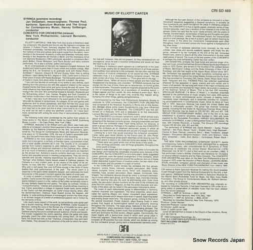 SOLLBERGER, HARVEY carter; syringa CRISD469 - back cover
