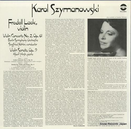 LACK, FREDELL szymanowski; violin concerto no.2 op.61 VCL9061 - back cover
