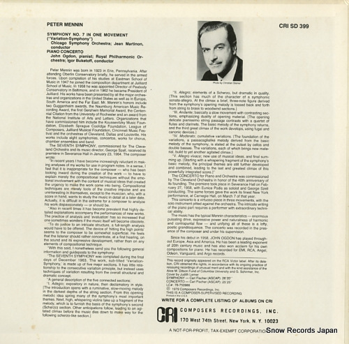 MARTINON, JEAN mennin; symphony no.7 in one movement(