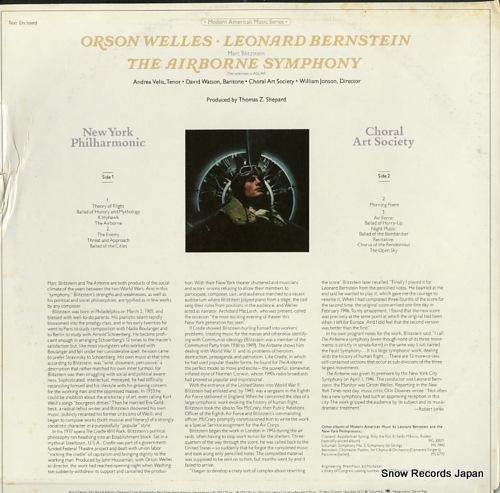 BERNSTEIN, LEONARD blitzstein; the airborne symphony M34136 - back cover