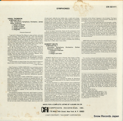BOLLE, JAMES thomson; symphony no.2 CRISD411 - back cover