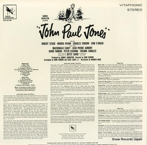 STEINER, MAX john paul jones STV81146 - back cover