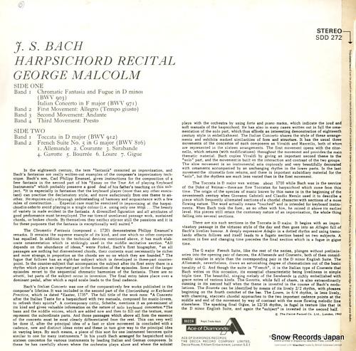 MALCOLM, GEORGE bach harpsichord recital SDD272 - back cover