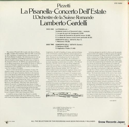 GARDELLI, LAMBERTO pizzetti; la pisanella STS15292 - back cover