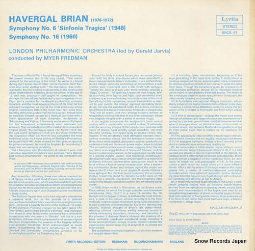 FREDMAN, MYER brian; symphony no.6