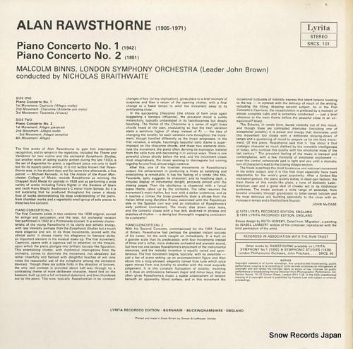 BRAITHWAITE, NICHOLAS rawsthorne; piano concerto no.1 & 2 SRCS.101 - back cover