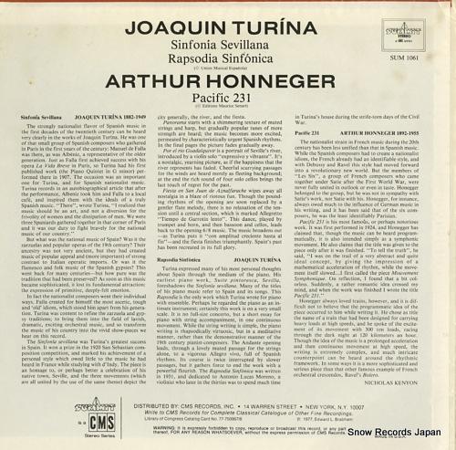 WEINBERG, ARTHUR turina; sinfonia sevillana SUM1061 - back cover