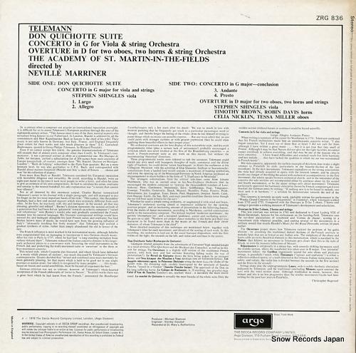 MARRINER, NEVILLE telemann; don quichotte suite ZRG836 - back cover