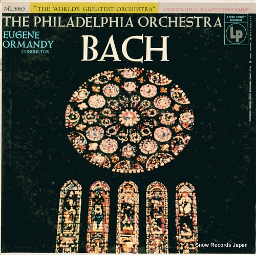 ORMANDY, EUGENE bach by the philadelphia orchestra ML5065 - front cover