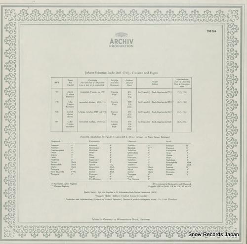 WALCHA, HELMUT bach; toccatas and fugues 198304 - back cover