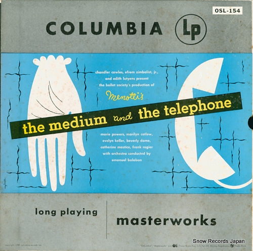 BALABAN, EMANUEL menotti; the medium and the telephone OSL-154 - front cover