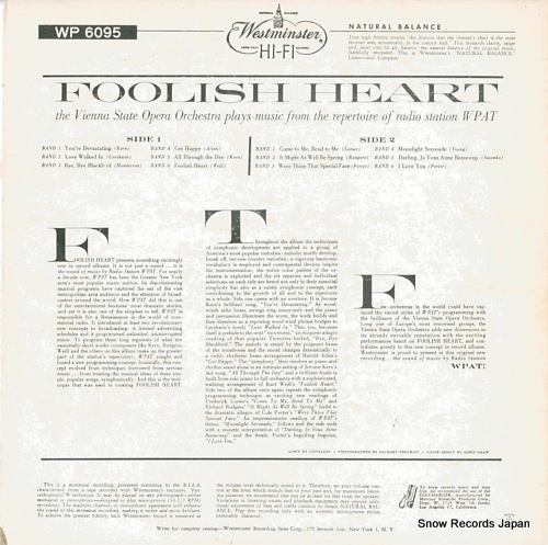 VIENNA STATE OPERA ORCHESTRA foolish heart WP6095 - back cover