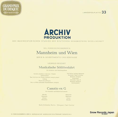 CARL, GORVIN leopold mozart; manheim und wien 14084 - front cover