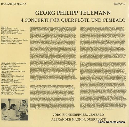 MAGNIN, ALEXANDRE telemann; 4 concerti fur querflote und cembalo SM92910 - back cover