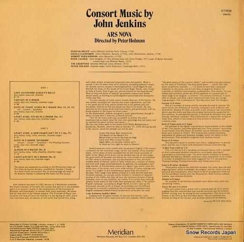 HOLMAN, PETER consort music E77020 - back cover