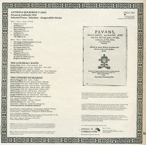 GUILDHALL WAITS, THE / THE CONSORT OF MUSICKE anthony holborne; pavans & galliards 1599 DSLO569 - back cover